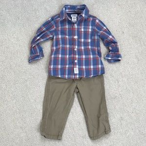 Carters Plaid Twill Button Front Shirt and Pants